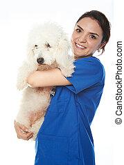 happy nurse with dog