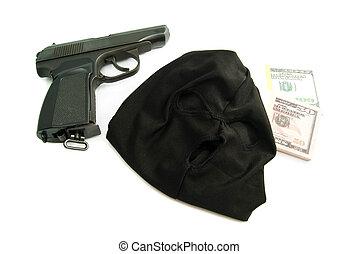 black mask, gun and dollars - mask, gun and dollars on white...