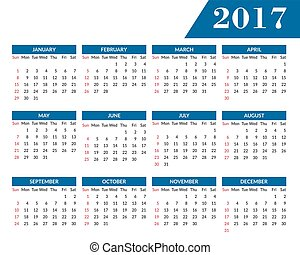 Simple calendar 2017 template - Simple 2017 year calendar....