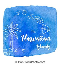 Watercolor Hawaiian, tropical graphic design - Palm tree and...