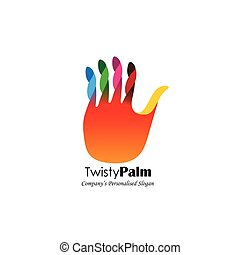 colorful abstract unusual hand stop vector logo icon. this...