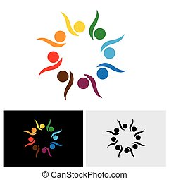 enthusiastic, excited children or kids playing - concept vector logo icon