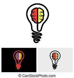 brain bulb icon, brain bulb icon vector, brain bulb icon eps...