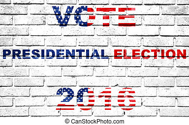 usa vote election for 2016 written on white wall background,...