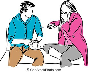 man and woman in a date drinking coffee illustration.eps -...