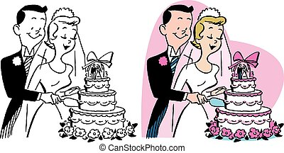 Wedding Couple Cuts Cake - A newly married couple cutting...
