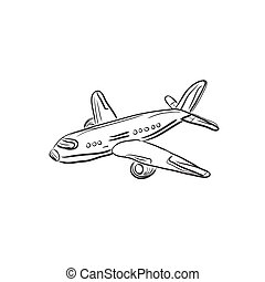 airplane, design element, sketch, vector illustration