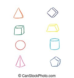 Geometry elements, sketch, vector illustration