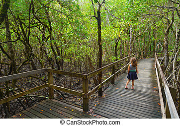 Daintree National Park Queensland, Australia - Girl (age 6)...