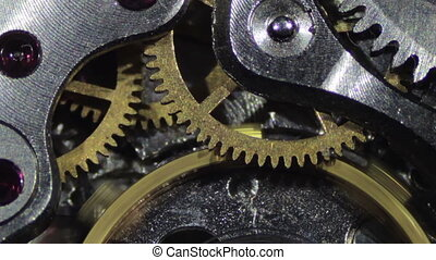 Clock Mechanism Works Macro Old clock, vintage Working...