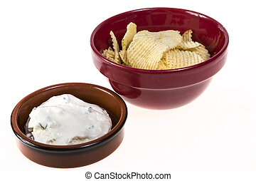 Potato Chips and Onion Dip - Potato chips and bowl of onion...