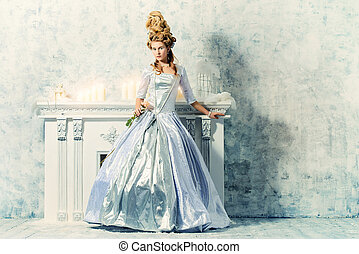 barocco history - Elegant young woman in a lush white...