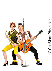 on a stage - Guitarist and saxophonist duo in the style of...