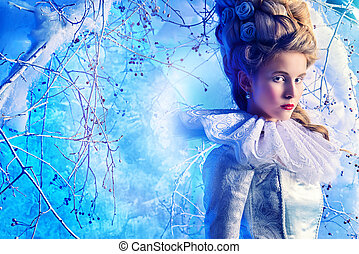 snow queen - Fairy Ice Queen in elegant silver and white...