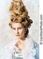 updo hairstyle - Beautiful young lady in a historical dress...