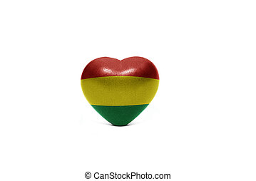 heart with national flag of bolivia on the white background