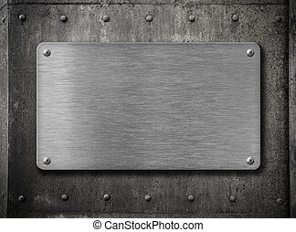 metal plate over grunge rusty background