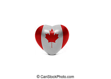 heart with national flag of canada on the white background