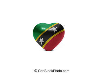 heart with national flag of saint kitts and nevis on the...