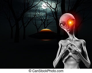 Alien And UFO In Forest