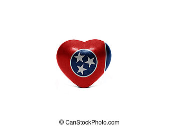 heart with flag of tennessee  state on the white background