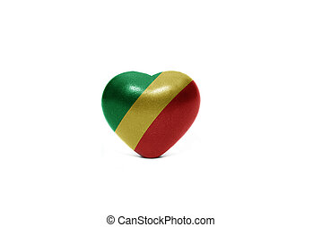 heart with national flag of republic congo on the white...