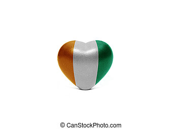 heart with national flag of cote divoire on the white...