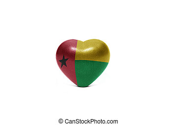 heart with national flag of guinea bissau on the white...