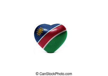 heart with national flag of namibia on the white background