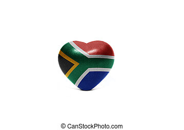 heart with national flag of south africa on the white...