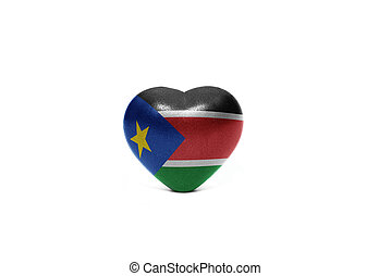 heart with national flag of south sudan on the white...