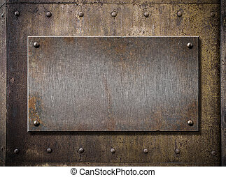 grunge metal plate over rusty background