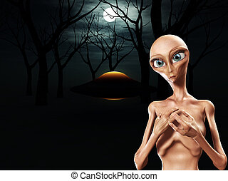 Alien And UFO In Forest - An alien and a UFO in a dark...