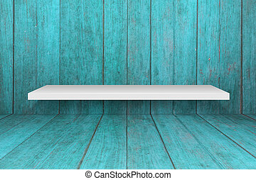 White shelf with old blue wooden interior texture background