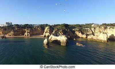 Aerial from Praia Tres Irmaos in the Algarve Portugal
