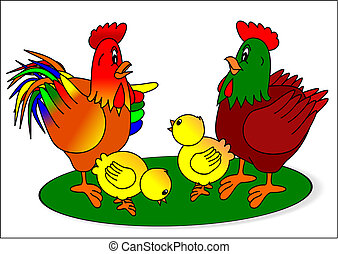 Rooster hen and chicks - rooster hen chicks grass nature...