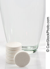 Dietary supplement - Closeup of effervescent tablets in...