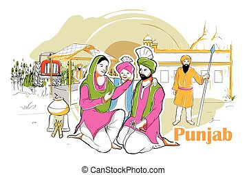 People and Culture of Punjab, India - easy to edit vector...