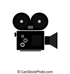 Camcorder symbol Flat Vector - The video camera icon...