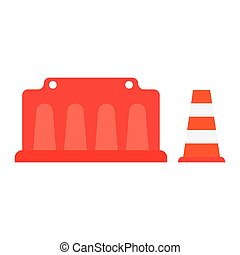 road barrier, cone - road barrier road cone vector...