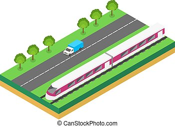 Fast Train near highway. Vector isometric illustration of a...