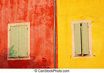 Colorful walls in Roussillon - colorful walls of Roussillon...