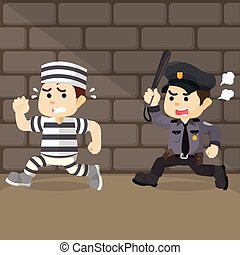 police chase convict cartoon illustration