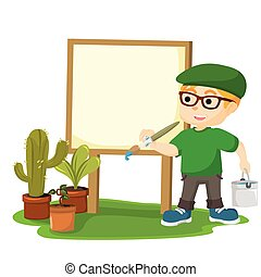 painter painting on a blank board