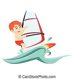 child wind surfer