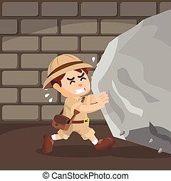explorer pushing large rock