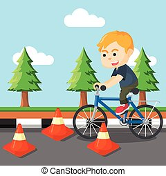 boy riding bicycle with obstacle