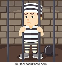 convict inside jail cartoon illustration