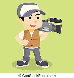 Cameraman reporter cartoon illustration