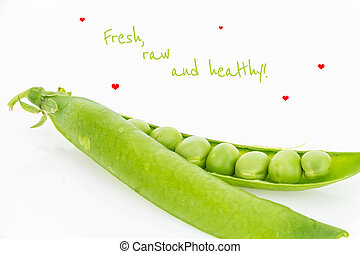 Fresh green pea pod closeup with text, on white background